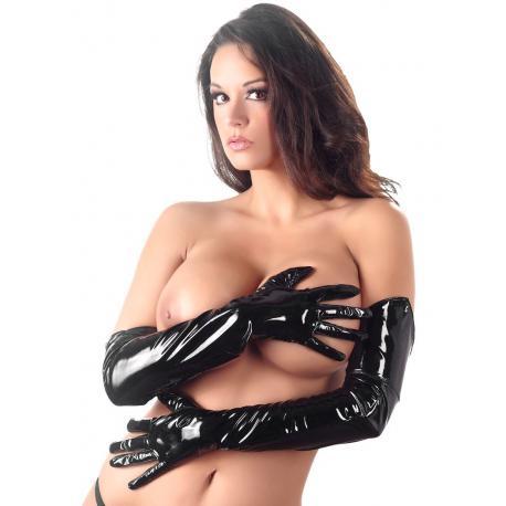 Dlouhé lakované rukavice (černé)
