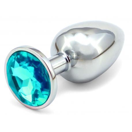 Anální kovový kolík s krystalem - světle modrý