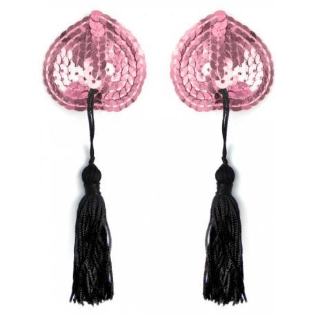 Samolepicí srdíčka na bradavky se střapci - růžová