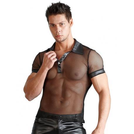 Síťované pánské tričko s límečkem a krátkými rukávy