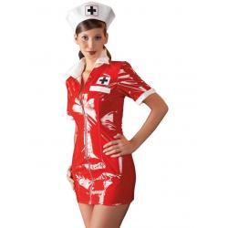 Lakovaný kostým Zdravotní sestra (červené šaty a bílý čepeček) - Black Level