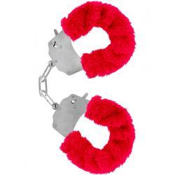 Kovová pouta na ruce s plyšovým kožíškem - červená