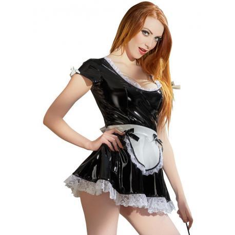 Lakovaný kostým Servírka (černé šaty s bílou zástěrkou) - Black Level