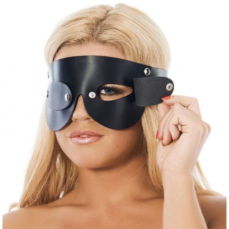 Kožená maska na oči s odnímatelnými klapkami - Rimba