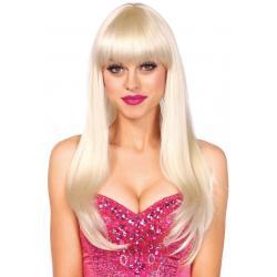 Dlouhá blond paruka s ofinou Leg Avenue Bangin