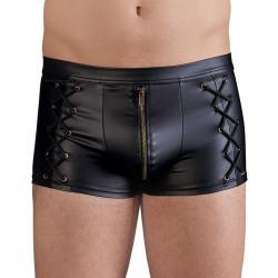 Wetlook boxerky se zipem a ozdobným šněrováním - NEK
