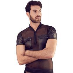 Wetlook pánské tričko s průsvitnou vsadkou, kapsami a zipem u krku - NEK